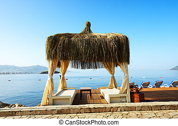 The hut on beach at Turkish resort, Bodrum, Turkey