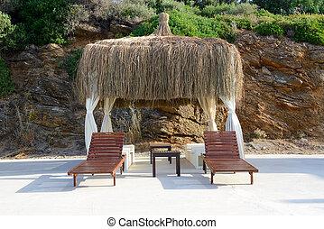 The hut on beach at turkish resort, Bodrum, Turkey