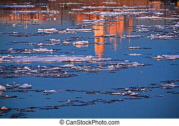 The ice in the Malaya Neva in Saint-Petersburg.