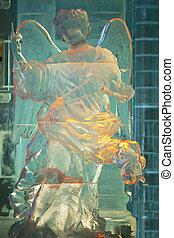 The ice sculpture - Beautiful transparent ice sculpture of ...
