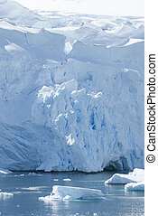 The ice sheet on the coast of Antarctica.
