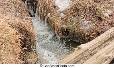 The Ice Winter Water Stream - The ice winter water stream...