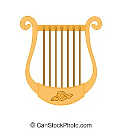The icon is a musical instrument of the Harp isolated on white background. Vector image