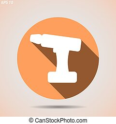 The icon of the silhouette of the screwdriver on white background
