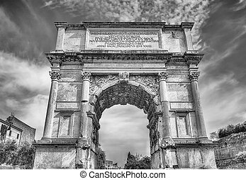 The iconic Arch of Titus in the Roman Forum, Rome - The...