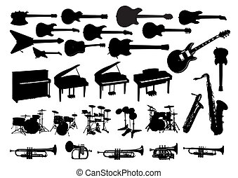 musical instruments black and white silhouettes
