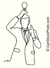 The idea. Businessman holding a light bulb over head. Business concept. Continuous line drawing. Isolated on the white background. Vector monochrome, drawing by lines
