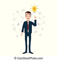 The idea came to the businessman, the light bulb caught fire. A cloud of thoughts and ideas