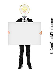 the idea in business suit holding a blank banner isolated on white background