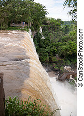 The Iguacu falls in Argentina Brazil closeup