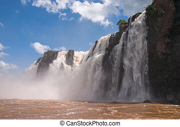 The Iguacu falls in Argentina Brazil from adventure boat
