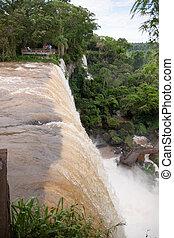 The Iguacu falls in Argentina Brazil closeup