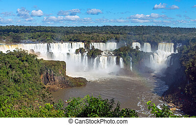 The Iguazu falls in South America at the border of Argentina with Brazil