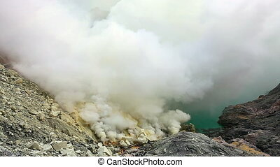 The Ijen crater. - Panoramic view from the top of Ijen...
