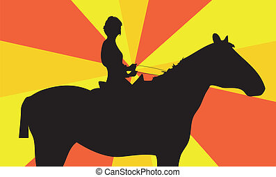 girl sits on a horse
