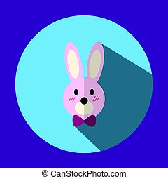 The illustration is a picture of a pink rabbit ears long. Purple bow tie In the middle of a circle with shadows can be used to media.