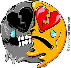 A broken heart face expression changes to dark skull broken heart emoticon