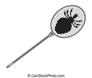The illustration of a gray louse swatter