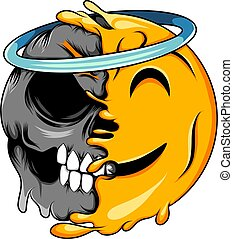 A happy angel face expression changes to death angel emoticon