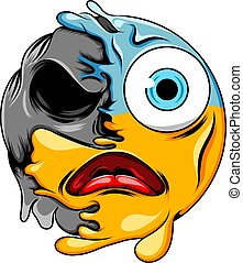 A panic face expression with blue head and big eyes changes to dark scary skull emoticon