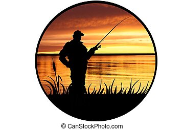The illustration of the fisherman which fishes at dawn