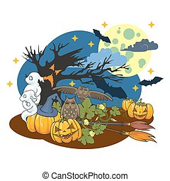 The illustration on a Halloween