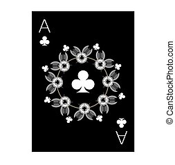 the illustration - playing card - Ace of Clubs.