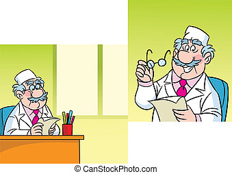 doctor - The illustration shows a cute cartoon doctor. At...