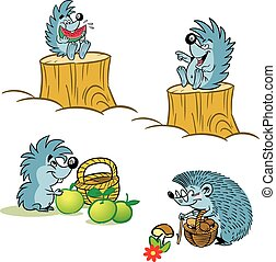 The illustration shows a few funny cartoon hedgehogs in different situations. The illustrations are made in isolation on a white background, on separate layers.