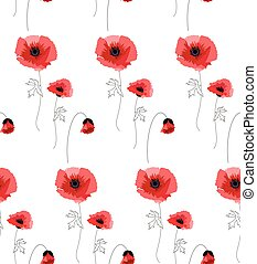 pattern with red poppies