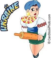 Ukrainian - The illustration shows a Ukrainian woman in the...