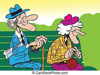 The illustration shows an elderly couple. It is an old man and woman, they sit on the bench. Illustration done in cartoon style, on separate layers.