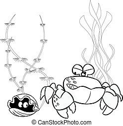 crab and shellfish - The illustration shows cartoon sea...