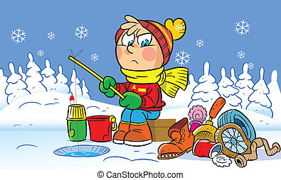winter fishing - The illustration shows funny a boy who is ...