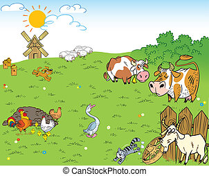 The illustration shows the farmyard and meadow on which the farm animals and pets.