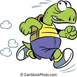 The illustration shows the tortoise, which deals sports running. Illustration done in cartoon style isolated on white background.