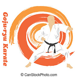 The illustration, the man is engaged in karate on a bright background.