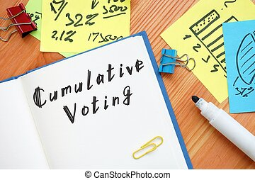 The image contains the inscription Cumulative Voting on a notebook sheet