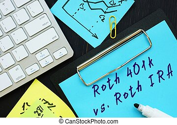 The image contains the inscription Roth 401k vs. Roth IRA on a notebook sheet
