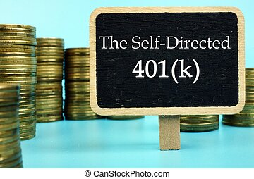 The image contains the inscription The Self-Directed 401k on a notebook sheet