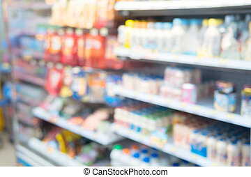 The image is blurred, and goods in the convenience store.