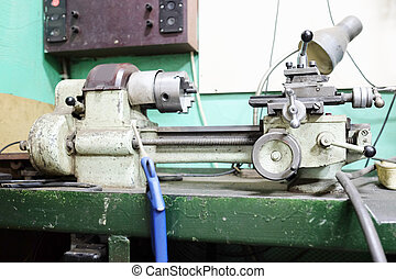 lathe machine in a workshop