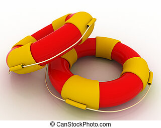 The image of a life buoy on a white background 3d rendered illustration