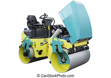 road roller - The image of a road roller under the white ...