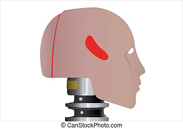 the image of a robot  head in profile