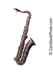 The image of a saxophone isolated