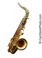 saxophone - The image of a saxophone isolated under a white...