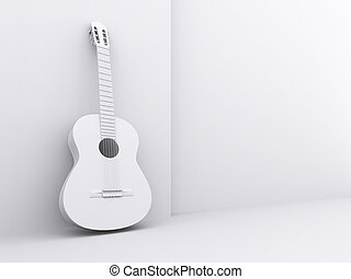 The image of a white guitar