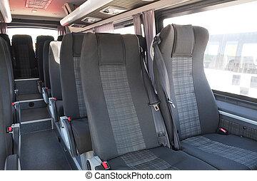 an Interior of modern city bus