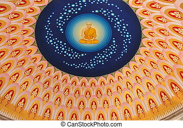 The image of Buddha on ceiling